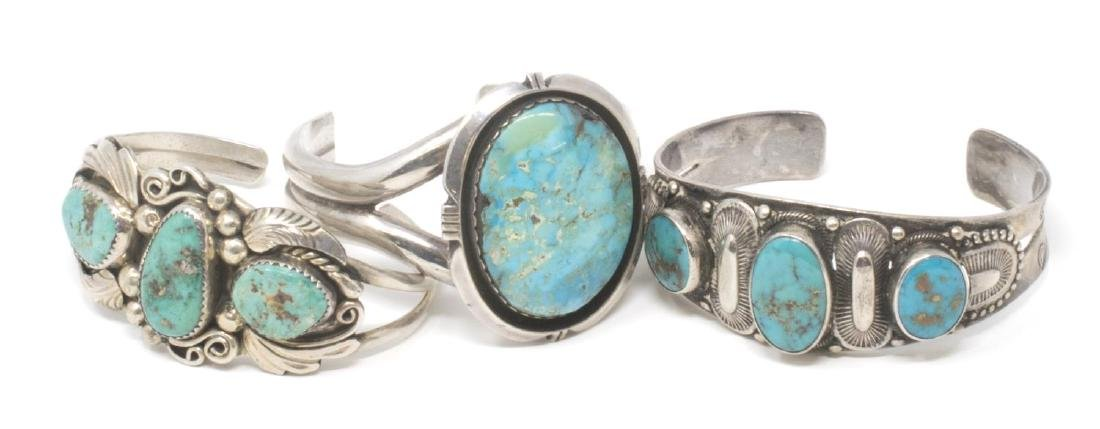 (3) SOUTHWEST STERLING & SILVER TURQUOISE CUFFS