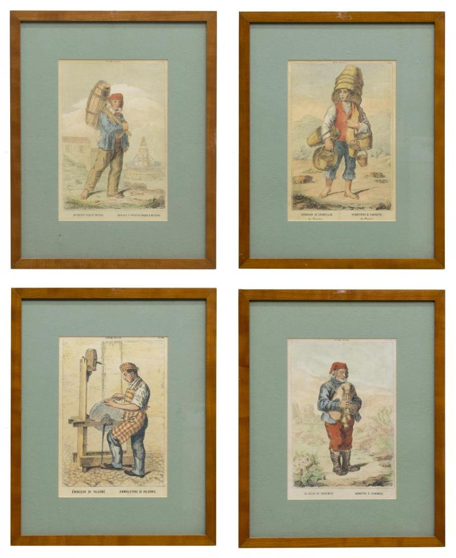 (4) FRAMED COLORED PRINTS OF SICILIAN COSTUMES