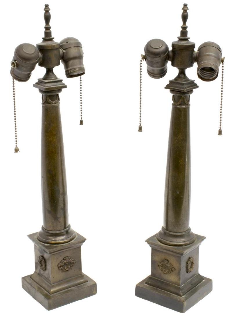 (2) NEOCLASSICAL STYLE BRONZE COLUMN TABLE LAMPS