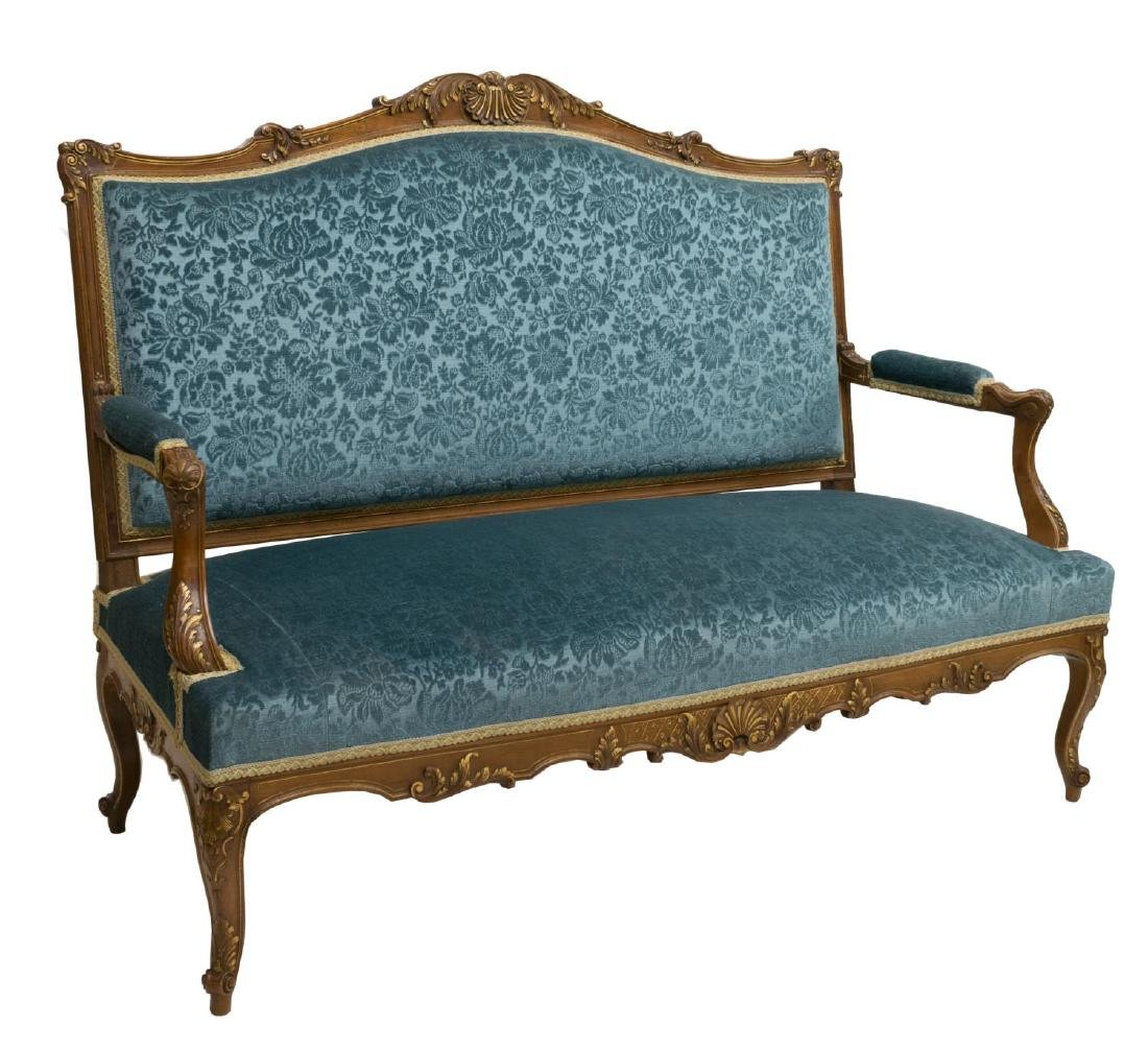 LOUIS XV STYLE PARCEL GILT CARVED WALNUT SOFA
