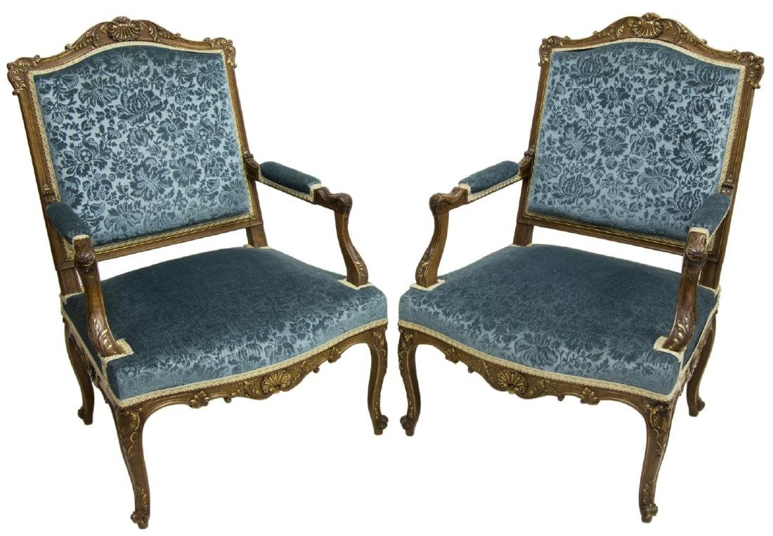 2) LOUIS XV STYLE PARCEL GILT CARVED WALNUT CHAIRS