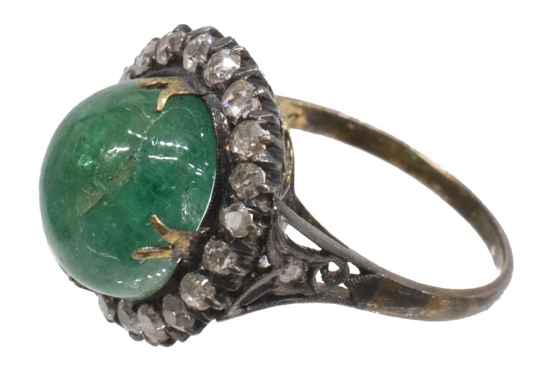 ANTIQUE MINE CUT DIAMOND & EMERALD ESTATE RING