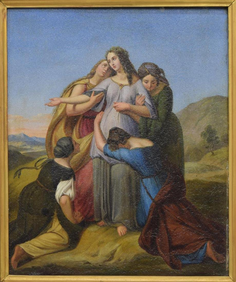 FRAMED BIBLICAL OIL PAINTING ON METAL PANEL
