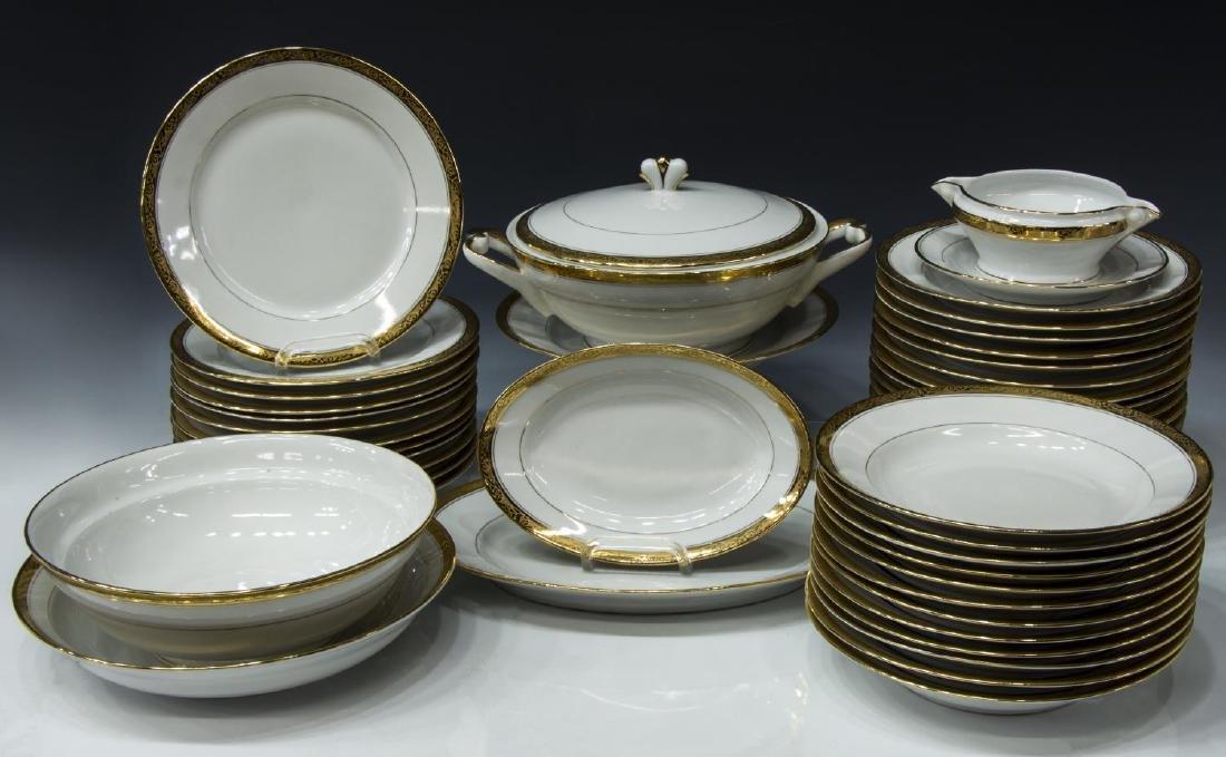 (43) FRENCH PARCEL GILT PORCELAIN DINNER SERVICE
