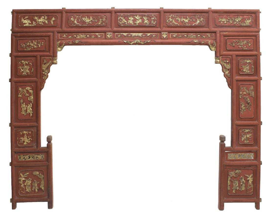 CARVED PARCEL GILT ARCHITECTURAL WEDDING BED PANEL