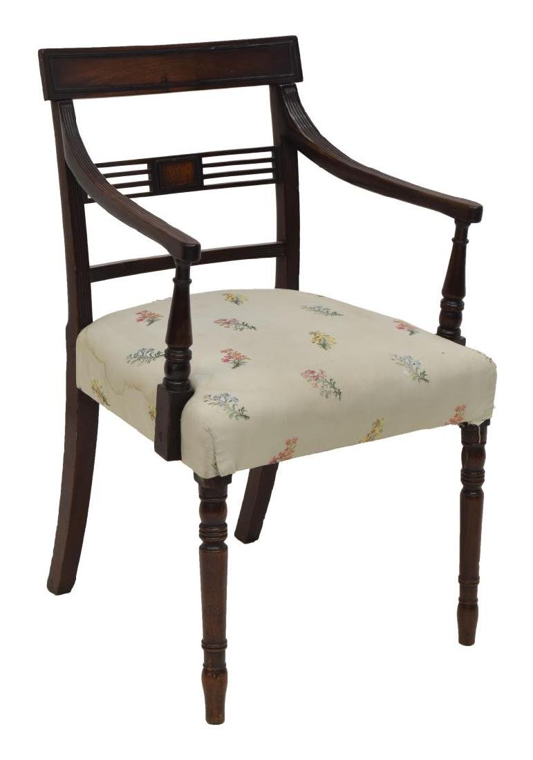 FEDERAL STYLE UPHOLSTERED CARVED MAHOGANY ARMCHAIR