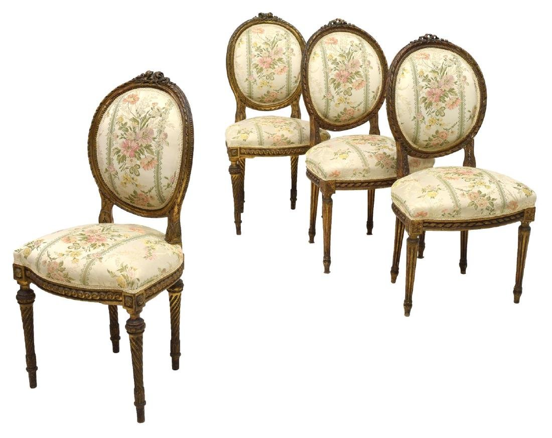 (4) FRENCH LOUIS XVI GILT CARVED SIDE CHAIRS