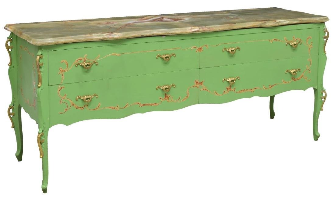 ITALIAN LOUIS XV STYLE PAINTED ONYX TOP COMMODE