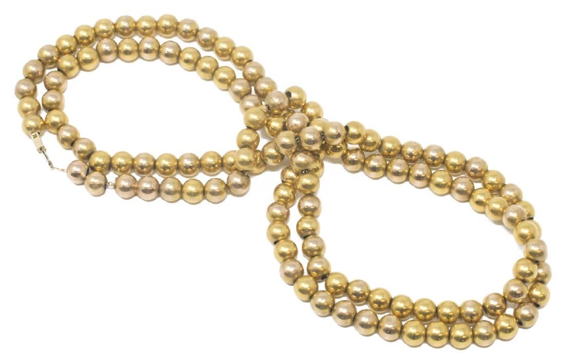 LADIES ESTATE 14KT YELLOW GOLD BEADED NECKLACE