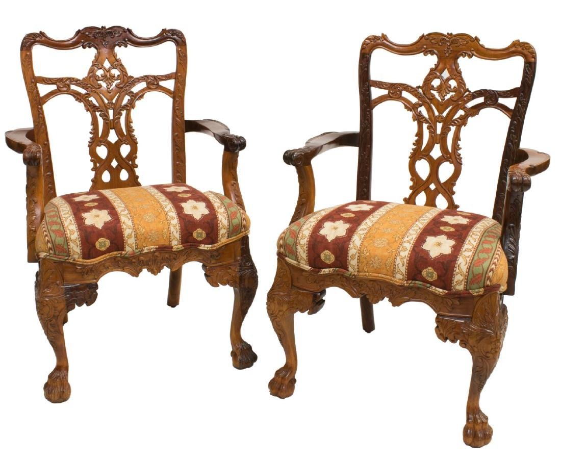 (PAIR) CHIPPENDALE STYLE HIGHLY CARVED ARMCHAIRS