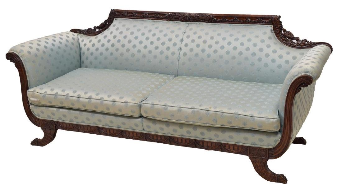 HEAVILY CARVED EMPIRE STYLE TWO-SEAT SOFA