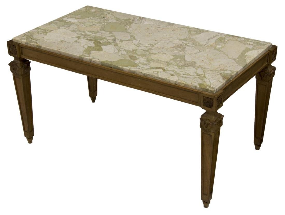 LOUIS XVI STYLE CARVED & MARBLE TOP COFFEE TABLE