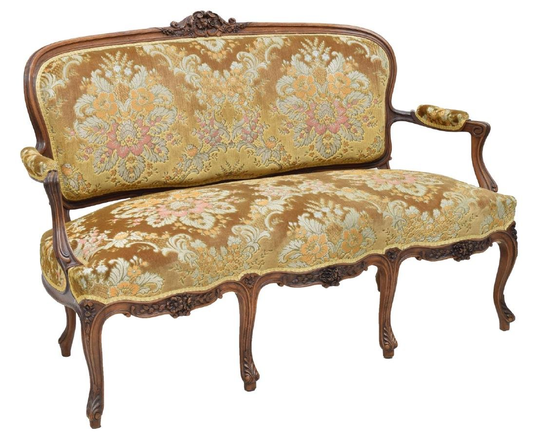 LOUIS XV STYLE CARVED WALNUT SOFA, 19TH C.