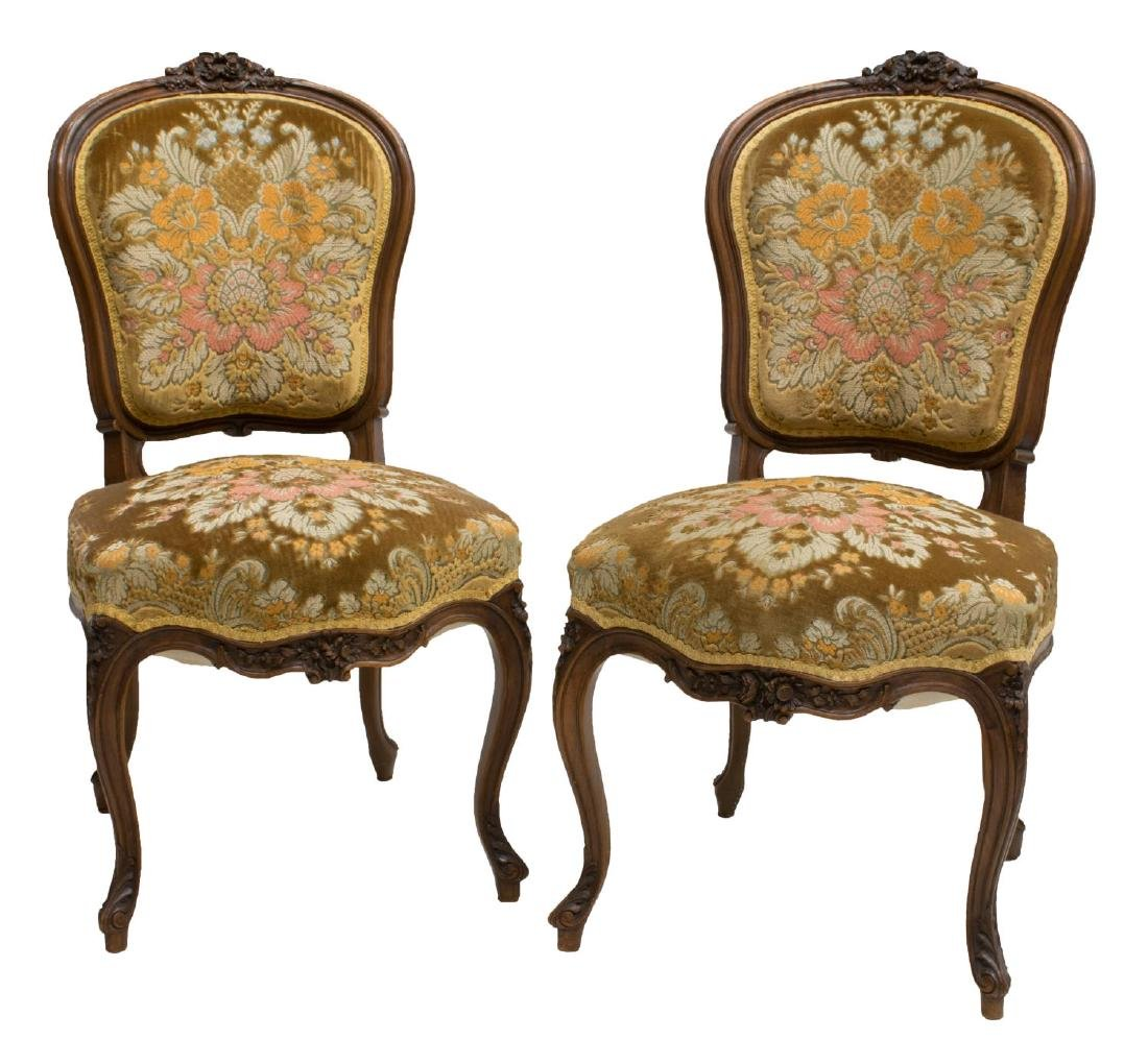 (2) LOUIS XV STYLE CARVED WALNUT SIDE CHAIRS, 19TH