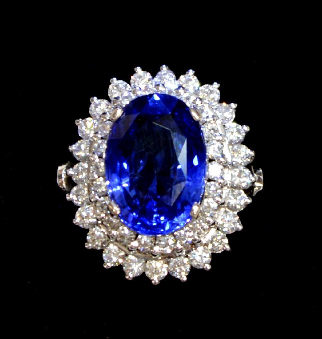 ESTATE 18KT GIA CEYLON SAPPHIRE & DIAMOND RING