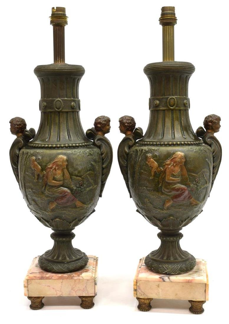 (2) ITALIAN CLASSICAL STYLE PATINATED SPELTER LAMP