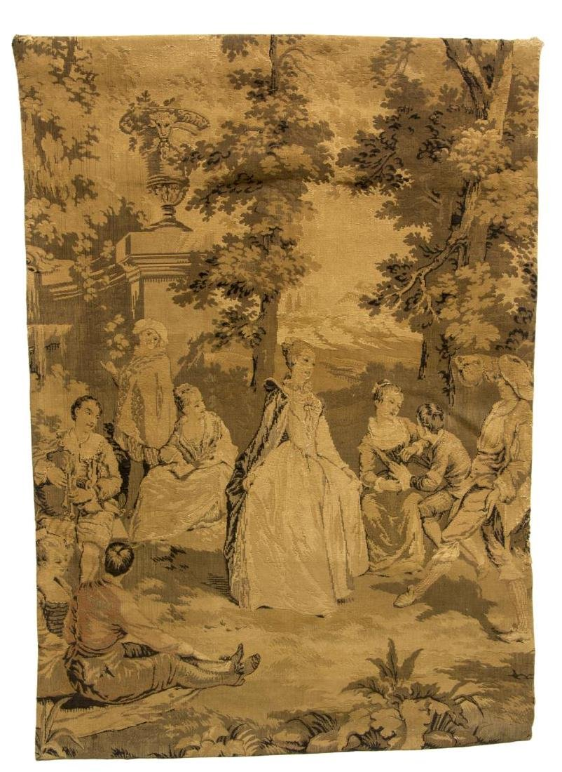FRENCH MACHINE WOVEN HANGING TAPESTRY GARDEN SCENE