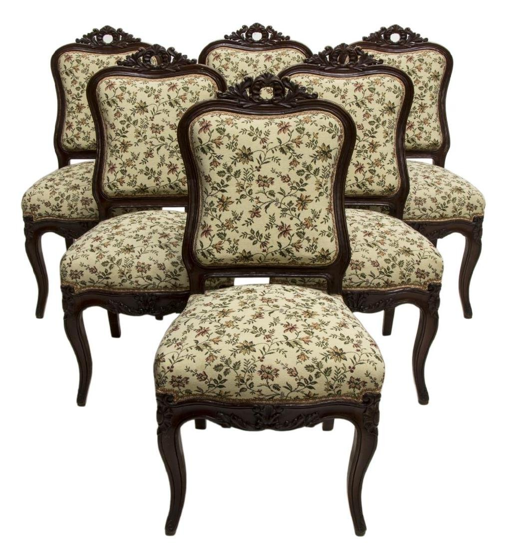 (6) NAPOLEON III CARVED MAHOGANY SIDE CHAIRS, 19TH
