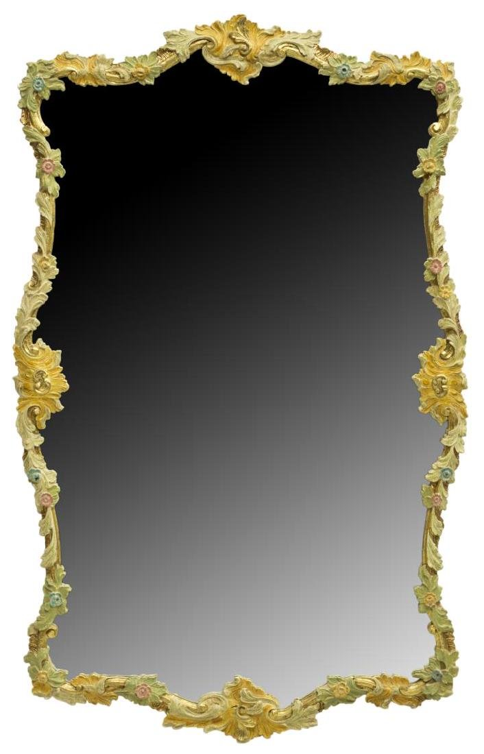 VENETIAN PARCEL GILT FLORAL PAINTED MIRROR