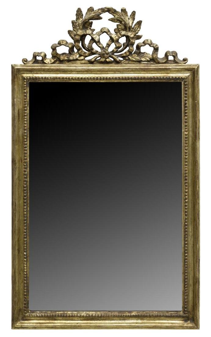 LOUIS XVI STYLE PIERCED & CARVED GILT WOOD MIRROR