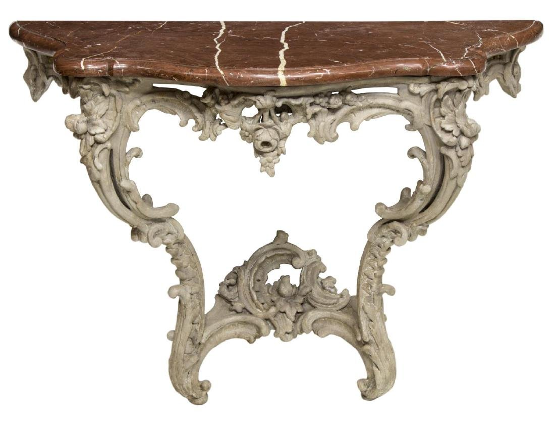 LOUIS XV STYLE PAINTED MARBLE TOP CONSOLE TABLE