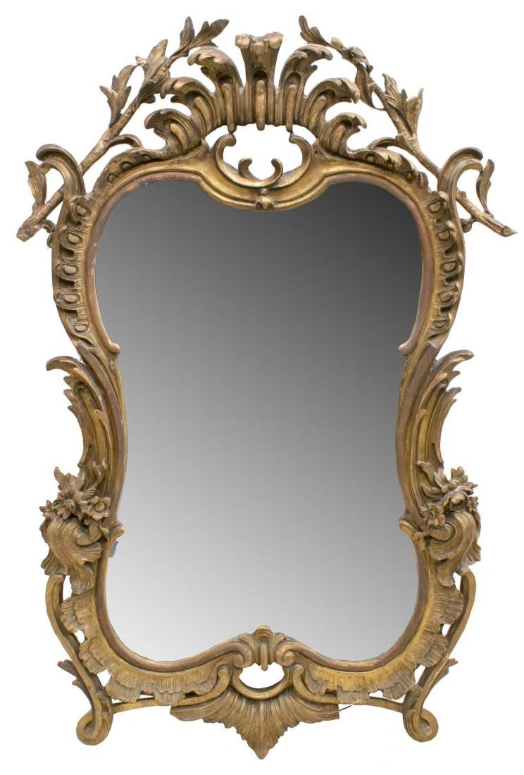 FRENCH ROCOCO REVIVAL GILT CARVED BEVELED MIRROR