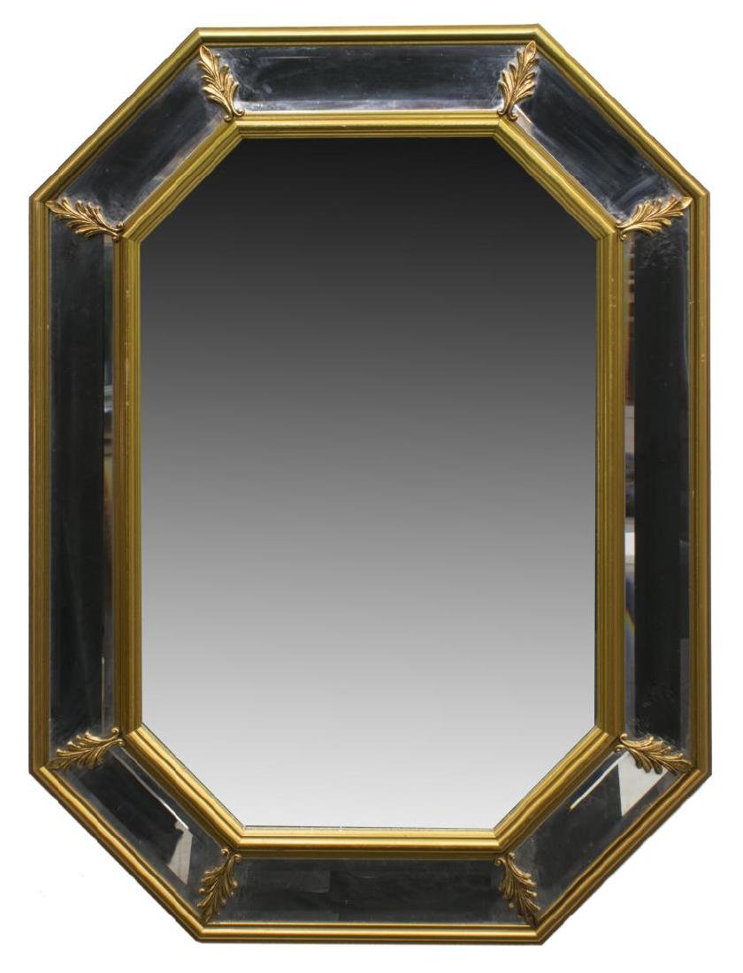 FRENCH OCTAGONAL GILTWOOD BEVELED WALL MIRROR