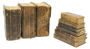 (9) ANTIQUE NORWEGIAN LEATHER BIBLES, 19TH C.
