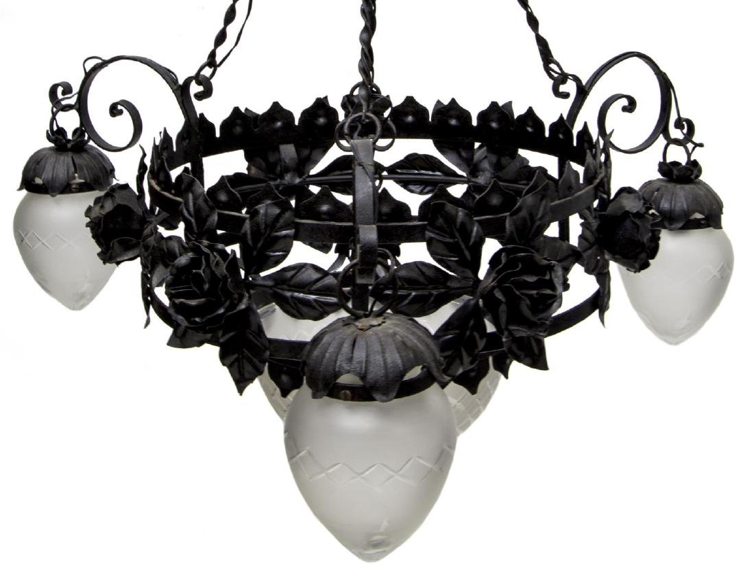 IRON AND FROSTED GLASS FOUR LIGHT CHANDELIER