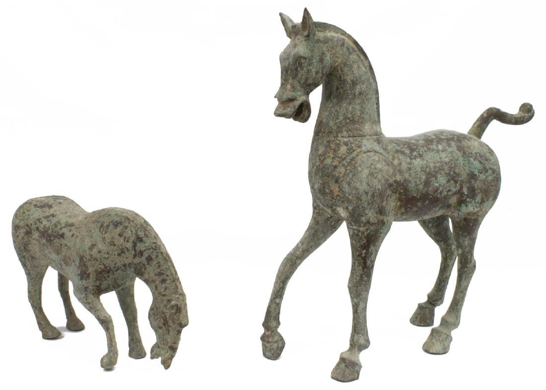(2) VERDE PATINATED BRONZE TANG STYLE HORSES