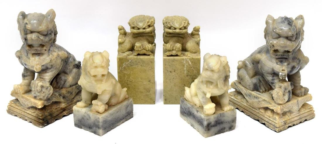 (6) GROUP OF CHINESE SOAPSTONE FOO LION FIGURES