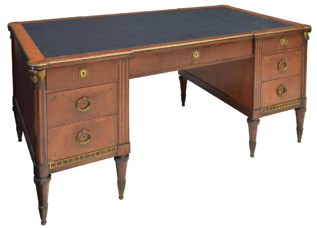 FRENCH EMPIRE STYLE GILT METAL MOUNT WRITING DESK