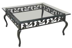 CONTEMPORARY GLASS TOP SOFA TABLE, GRAPEVINES
