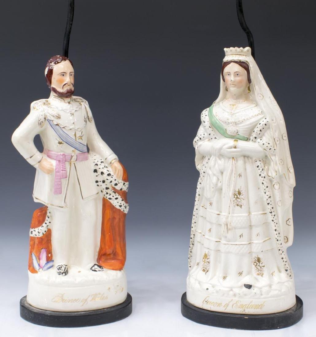 (2) STAFFORDSHIRE VICTORIA & EDWARD FIGURAL LAMPS