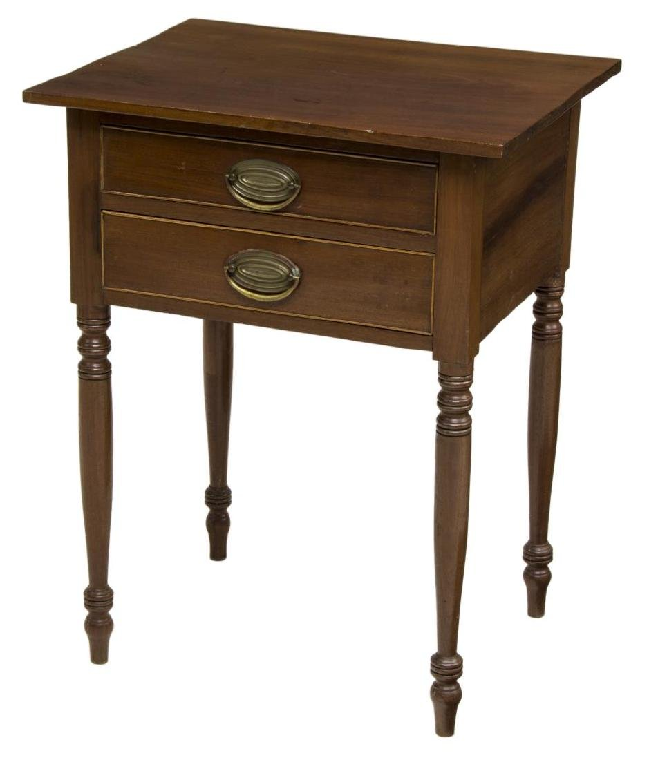 AMERICAN HARDWOOD TWO-DRAWER SIDE TABLE, 19TH C
