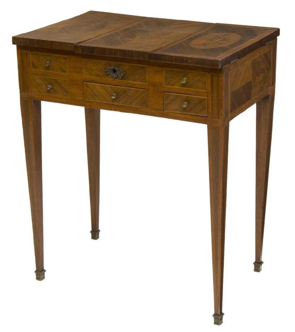 FRENCH MARQUETRY VANITY OR SEWING TABLE, 19TH C.