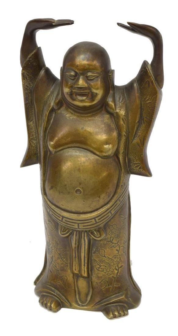 BRONZE STANDING HAPPY BUDDHA FIGURE, ARMS RAISED