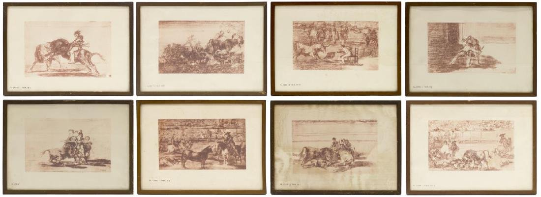 (8) FRAMED PRINTS 'LA TAUROMAQUIA' AFTER GOYA