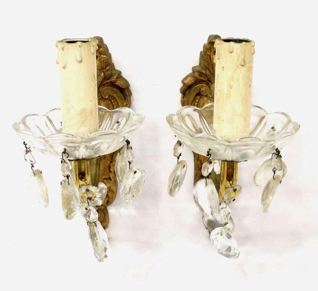 (PAIR) CONTINENTAL LOUIS XV STYLE GILT SCONCES