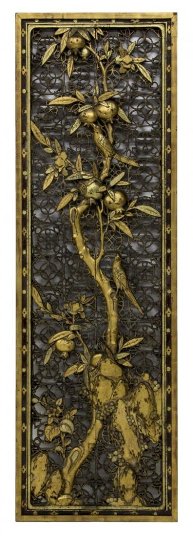 CHINESE PARCEL GILT CARVED PIERCED WOOD PANEL