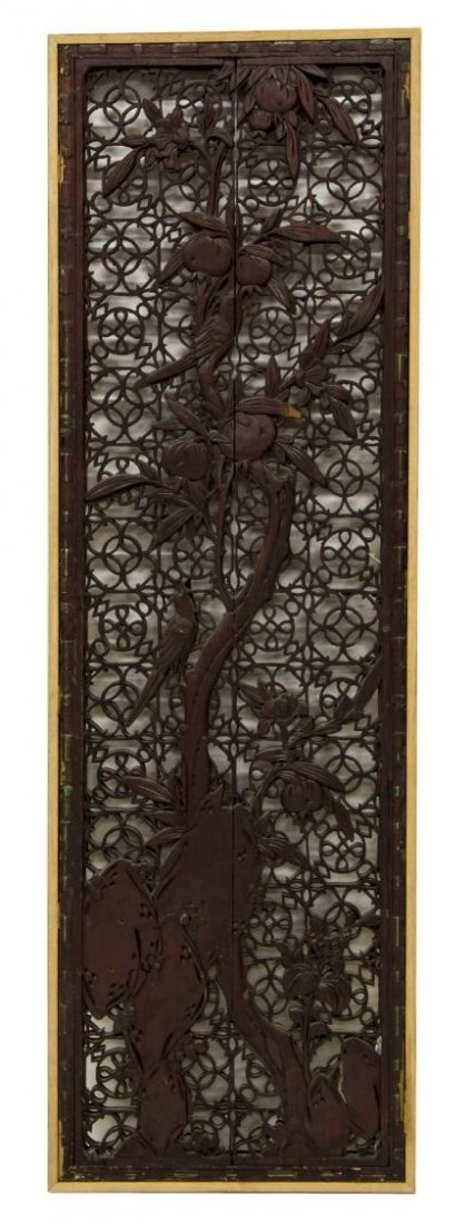 CHINESE PARCEL GILT CARVED PIERCED WOOD PANEL - 2