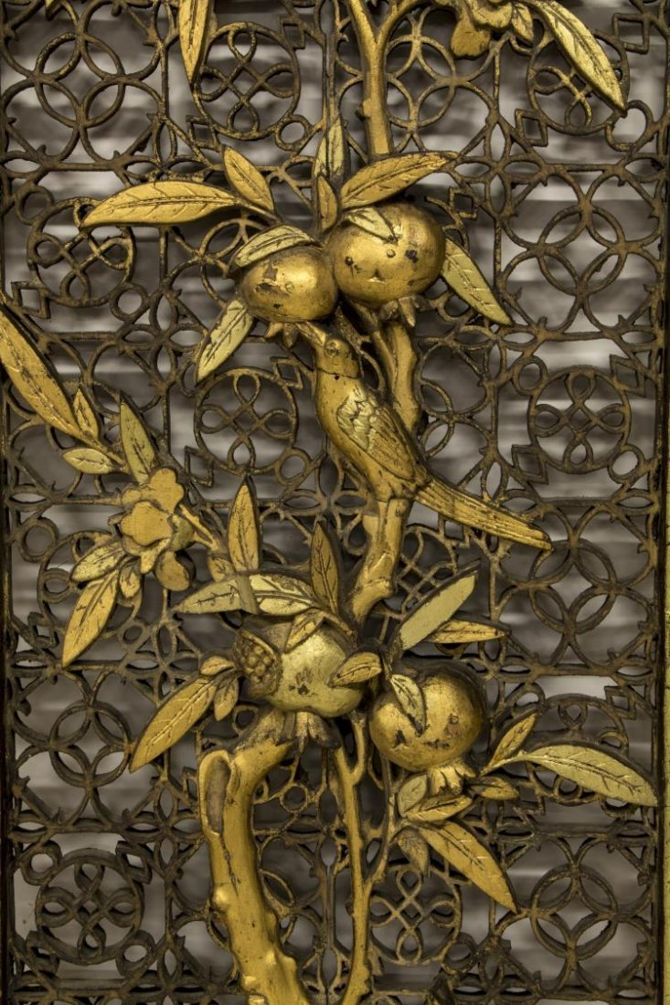 CHINESE PARCEL GILT CARVED PIERCED WOOD PANEL - 3