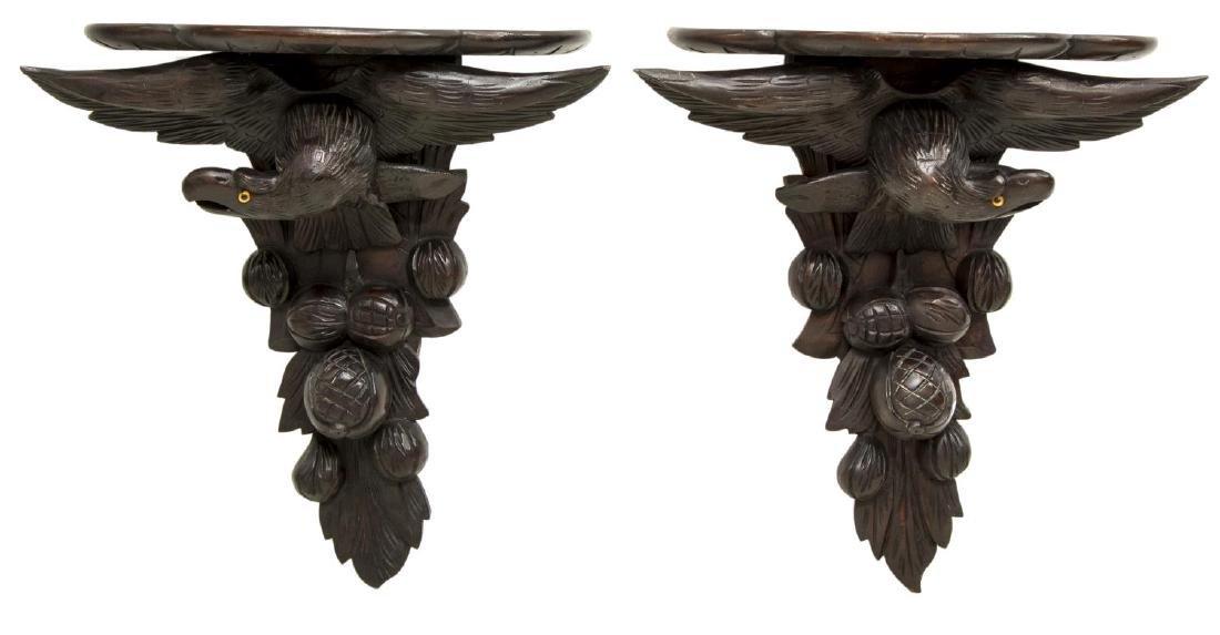 (2) FRENCH CARVED MAHOGANY EAGLE SHELF BRACKETS