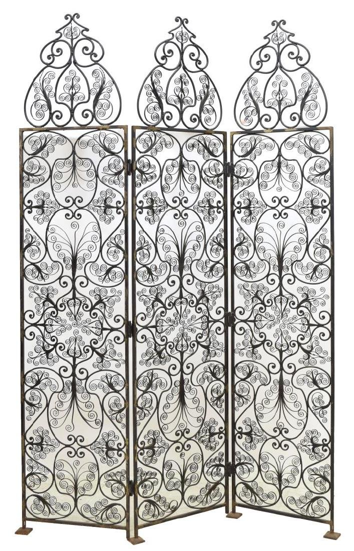 FRENCH SCROLLED WROUGHT IRON 3 PANEL SCREEN