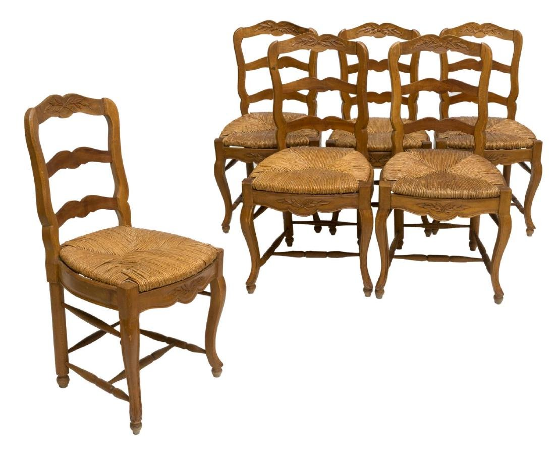(6) FRENCH PROVINCIAL CARVED WOOD RUSH CANE CHAIRS