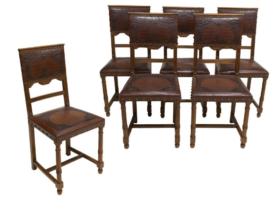 (6) FRENCH EMBOSSED LEATHER DINING CHAIRS