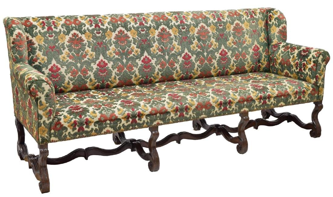 LOUIS XIII STYLE WALNUT UPHOLSTERED WINGBACK SOFA