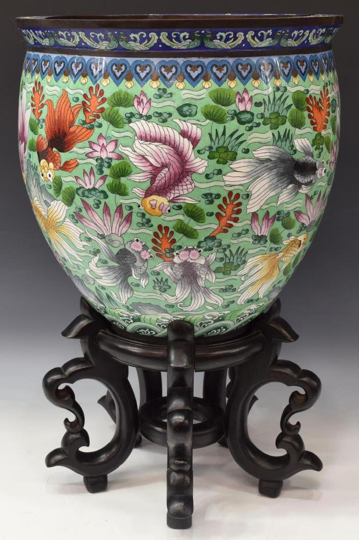 CLOISONNE METAL FISH BOWL ON CARVED STAND