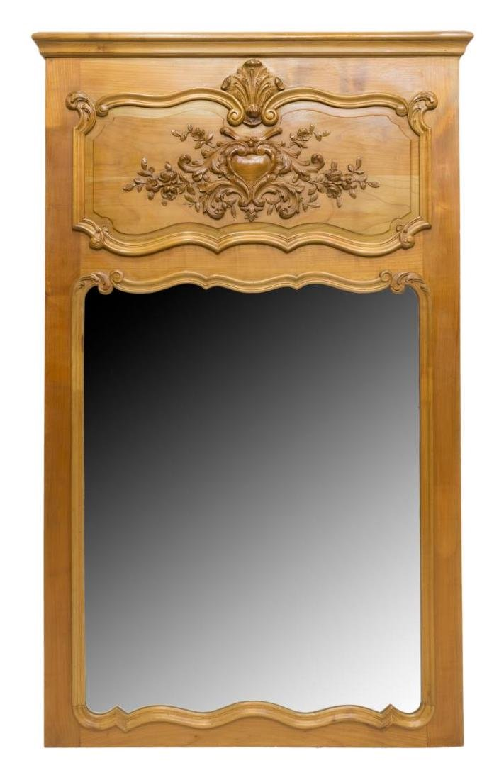 LOUIS XV STYLE CARVED FRUITWOOD WALL MIRROR