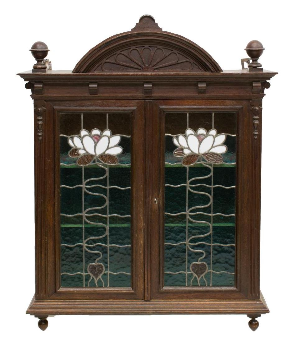 FRENCH OAK STAINED GLASS FRONT WALL CABINET